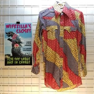 H Bar C Ranchwear Vintage Long Tail Western Shirt